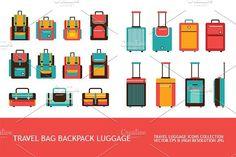 Luggage Travel Bag Backpack icon set. $8.00