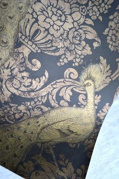 Wallpaper - Cole and Son Sample Sheet - 19 x 17 Albemarle Byron Gold Peacock