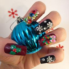 Snowy Night  Christmas 3D Nail Art  Christmas Nails by my3Dnails