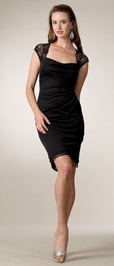 Short Black Formal Dress Ruched Fitted Sexy Cute Lace Cap Sleeves $96.99