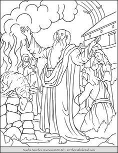 Noah's Sacrifice Bible Coloring Page - TheCatholicKid.com