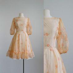 1960s peach floral dress  vintage 60s sheer by FoundbyMeVintage