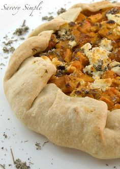 Butternut Squash and Goat Cheese Galette...delicious! Used roasted sweet potato and added ~2/3c mashed roasted pumpkin to the apples and onions. Used dried rosemary (~1tsp) between the layers instead of sage. Will make this again!