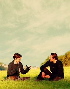 This is of course from the filming of X-Men: First Class, but I can imagine James and Ben like this, in a secluded area on the grounds of a country house...