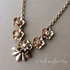 Gardenia Collar Necklace Nickel-Free | Antique Worn 12K Gold & Worn Rose Gold Plated | Semiprecious Pale Pink Jade | Golden Shadow Swarovski Crystal | Light Peach Crystal | Perfect Condition! Chloe + Isabel Jewelry Necklaces