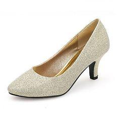 Sølv+/+Guld+-+Dame+-+Bryllup+Sko+-+Bryllup+/+Fest/aften+-+høje+hæle+-+Hæle+/+Komfort+/+Rund+tå+–+DKK+kr.+302