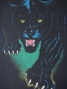 Vintage Velvet Flocked Black Light Poster Bob Dara Panther King of The Night 70s | eBay