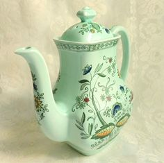 Vintage Green Mandarin Enoch Wedgwood Flower Coffee Pot Tunstall Ltd. England