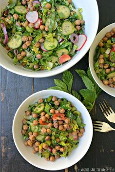 Instead of bread, this version of Fattoush salad uses chickpeas (garbanzo beans) roasted with sumac in its place. This hearty salad is full of fresh vegetables, herbs, and a dressing made from lemon juice, olive oils, and pomegranate molasses. It's vegan and gluten-free. Get this recipe now by visiting www.veggiessavetheday.com, or pin and save for later!