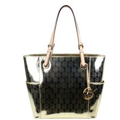 e8b4d66535d86 ... Handbag Michael Kors Signature Jet Set Mono Mirror Metallic East West Tote  Pale Gold - HandBags ...