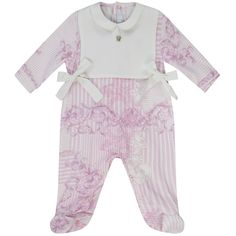 1eec7bedd485 Revamp your baby girl s designer clothing with this pink   white baroque  print baby grow with white bib and bow detailing from Young Versace