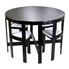 Dinette Set Dining Table Modern Round Kitchen Small Apartment Size Compact Black