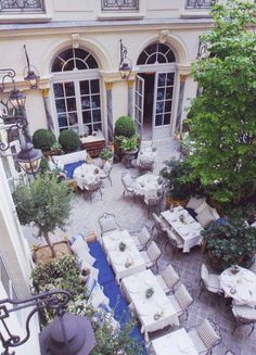 Dining in the courtyard of Ralph Lauren's Paris flagship store.