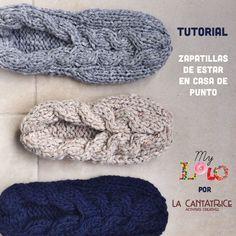 Tutorial zapatillas de puntos con patrón en 5 tallas y instrucciones completas gratis ! Free slippers knitting pattern !