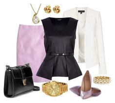 Lilac Skirt and Heels by jensmith1228 on Polyvore featuring River Island, Topshop, J.Crew, Zara, Michael Kors, Lord & Taylor, R.J. Graziano and Fornash