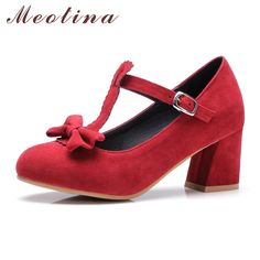 f29db7118bdbc Meotina Pumps Women Mary Jane Shoes Lolita High Heels Bow T-Strap Shoes  Ladies Party Pumps Thick Heels Red Large Size 11 45 46