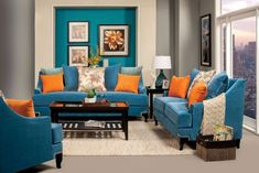 2 pc Viscontti peacock blue bella velvet fabric sofa and love seat set. Sofa and Love seat features a nail head trim around the dark finish wood legs , multi color patterned pillow backs. Sofa measures x x H. Love seat measures x x 3 Living Room Orange, New Living Room, Living Room Sets, Living Room Chairs, Living Room Furniture, Living Room Decor, Lounge Furniture, Room Color Schemes, Room Colors