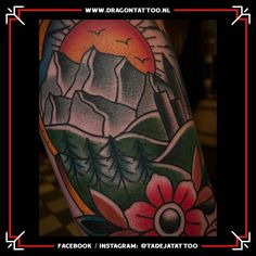 Traditional Landscape Tattoo. On the forearm.  Designed and Tattooed by: Tadeja Dragon Tattoo Landscape Tattoo, Tattoo Portfolio, Traditional Landscape, First Tattoo, Color Tattoo, Old School, Dragon, Tattoos, Tatuajes