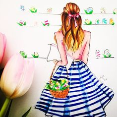 """좋아요 663개, 댓글 34개 - Instagram의 Melsy's Illustrations ©(@melsysillustrations)님: """"Details of today's #easter illustration of a @juliahengel inspired outfit. I hope you all had a…"""""""