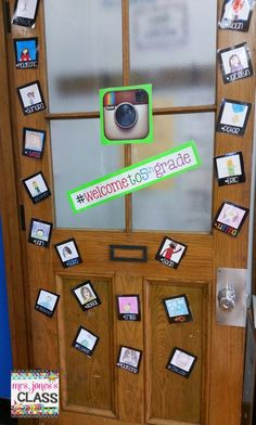 Welcome Back Instagram door!  The kids drew selfies! :)