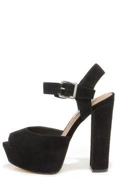 Steve Madden Jillyy Black Suede Platform Heels | Black suede ...