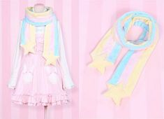 kawaii pink fairy kei pastel scarf and dress. So cute, I need this! Harajuku Mode, Harajuku Fashion, Kawaii Fashion, Lolita Fashion, Cute Fashion, Fashion Outfits, Style Kawaii, Looks Kawaii, Kawaii Cute