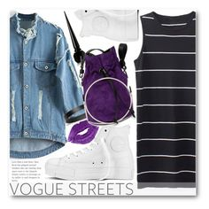 """""""Vogue streets"""" by stylemoi-offical ❤ liked on Polyvore featuring moda, Converse, Christian Louboutin, COSTUME NATIONAL y stylemoi"""