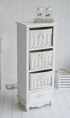 Rose tall white storage basket unit with 4 drawers. Bedroom Furniture