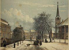 Hendrik Tollens (24 september 1780 -21 oktober 1856) Litho Rijswijk ca. 1840-'50. Links het huis waar Tollens vanaf 1846 tot zijn dood leefde.