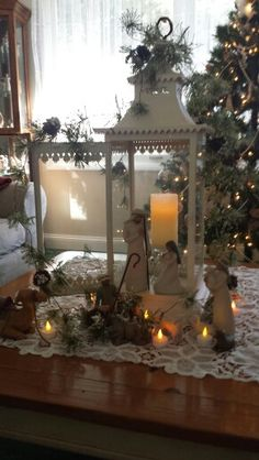 My willow tree nativity..perfect in my lantern!