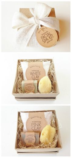 Facial Spa Kit Gift Set 4x4x2 Box 1.2 oz Face Mask by elaeis