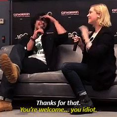 Bob Morley and Eliza Taylor remembering each other's lines.