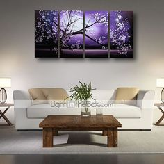 Ready to Hang Stretched Hand-painted Oil Painting 4 pieces Canvas Wall Art Modern Purple Blosssom Flowers 4691953 2016 – £48.29
