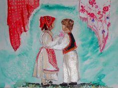 Croatian Tam Dancers- children  5x7 watercolor from Seattle Kavana 2001 lstilnovich
