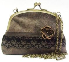 Romantic Brown Leather and Lace Purse