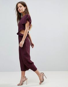 ASOS Petite | ASOS PETITE Jumpsuit with Ruffle and Cut Out
