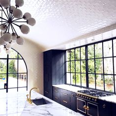 Magnificent white arched tile ceiling kitchen remodel from Benecki Homes + Melanie Turner Interior Design. 3383 Knollwood Drive Atlanta, Georgia. Kitchen Ceiling Design, Modern Kitchen Design, Interior Design Kitchen, Kitchen Decor, Diy Kitchen, Kitchen Sink, Awesome Kitchen, Open Kitchen, Kitchen Ideas