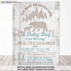 Bear Baby Shower Invitation Woodland Bear Baby Shower Invitation Rustic Bear…