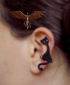 Black cat ear cuff kitty earring no piercing by RockTime on Etsy
