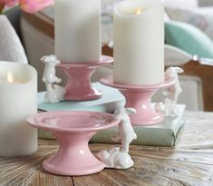 H213800 Set of 3 Ceramic Pedestal Lifts with Bunnies. Choice of pink, blue, cream or green.
