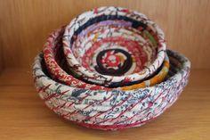 Recycled Sari Material Set of Three Bowls - Hand Made & Fair Trade