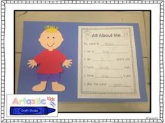 Back to School Literacy and Math Activities - All About Me Craftivity: designed by Artastic Craft Studio!