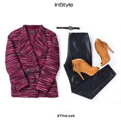 Dale un giro edgy a tus looks de oficina con un abrigo en tonos vino con unos pantalones de cuero. Finaliza con unos tacones café para darle un pop de color. #TheLook #Fashion