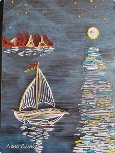 Картина панно рисунок Квиллинг Морской мотив Бумажные полосы Материал природный фото 1