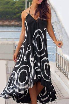 Stylish Women's V-Neck Sleeveless Asymmetrical Dress