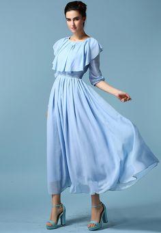 Flouncing Pleated Maxi Blue Dress