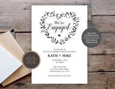 Your place to buy and sell all things handmade Engagement Party Invitations, Wedding Invitation Templates, Bridal Shower Invitations, Wedding Program Fans, Wedding Fans, Bridal Shower Rustic, Rustic Wedding, Wedding To Do List, Program Template