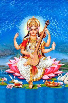 Ads Art Poster Wall decorative and Personalise Greeting cards Durga Images, Lord Shiva Hd Images, Lakshmi Images, Saraswati Vandana, Saraswati Goddess, Shiva Hindu, Hindu Art, Saraswati Picture, Maa Image