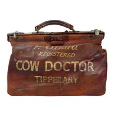 "Ireland (Tipperary). Leather ""cow doctor"" medical bag. 1800s. h12w16d9"