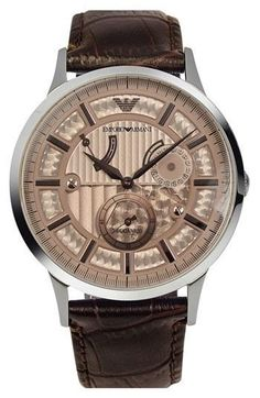 Emporio Armani Meccanico Automatic Leather Strap Watch, available at